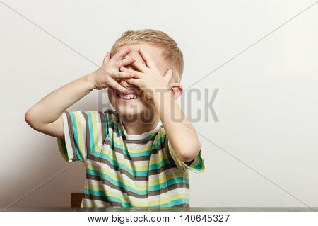 Little Boy Have Fun With Funny Gestures