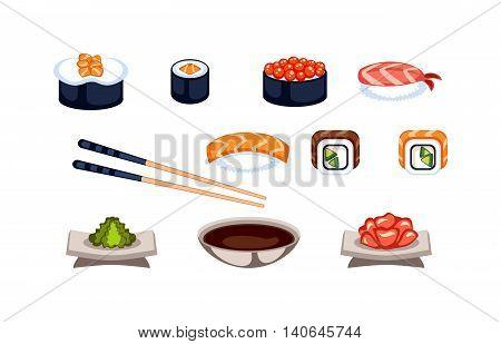 Sushi rolls traditional seaweed fresh raw food. Asia cuisine restaurant delicious.