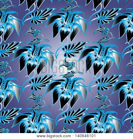 Blue vintage floral vector seamless pattern background with  decorative volumetric blooming flowers and leaves. Elegant 3d decor with shadow and highlights. Endless stylish and modern texture.