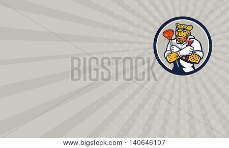 Business card showing illustration of a leopard plumber holding wrench and plunger viewed from front set inside circle on isolated on background done in cartoon style.