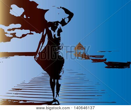 Alone Woman in the hat  standing on old sea pier and looking into the distance.the sea. Vector illustration