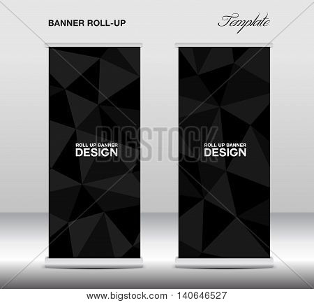 Black Roll Up Banner template vector stand layout display advertisement flyer design polygon background