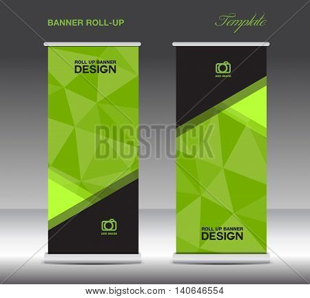 Green Roll Up Banner template vecto stand layout display advertisement flyer design polygon background