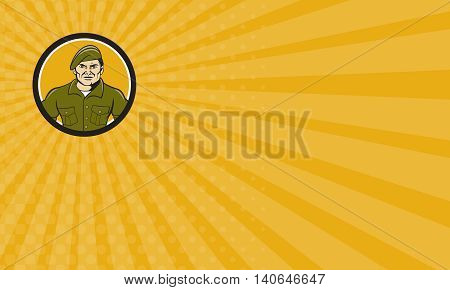 Business card showing illustration of a service ranger standing in full attention viewed from front set inside circle on isolated background done in cartoon style.