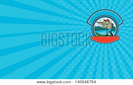 Business card showing illustration of a spotted sea trout fish hunter hunting aiming a shotgun rifle viewed from side with lake trees and mountains in the background done in retro style.