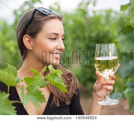 Wine Tasting Tourist Woman.