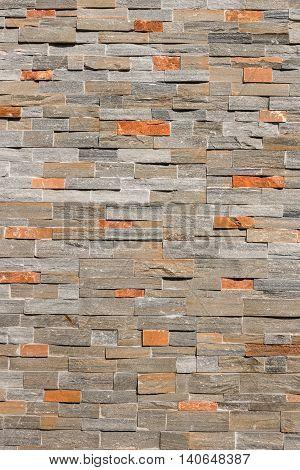 close up of natural stone veneer wall