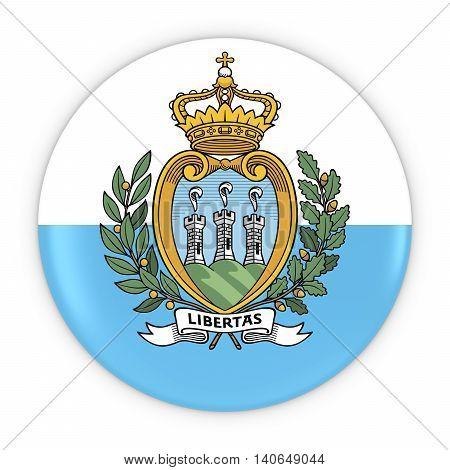 Sammarinese Flag Button - Flag Of San Marino Badge 3D Illustration