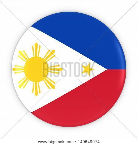 Filipino Flag Button - Flag Of Philippines Badge 3D Illustration