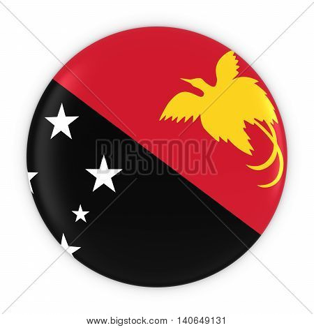 Papua New Guinean Flag Button - Flag Of Papua New Guinea Badge 3D Illustration