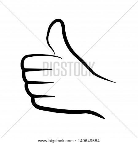 Human hand concept represented by gesture with fingers doing thumbs up. Isolated and flat illustration