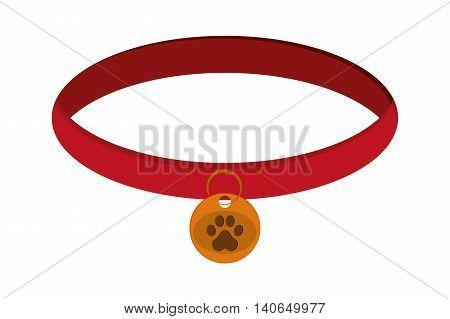 flat design pet collar icon vector illustration