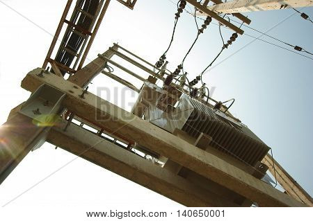 Electrical transformer on the electrical concrete pole