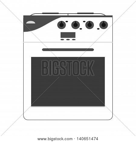 flat design stove oven icon vector illustration