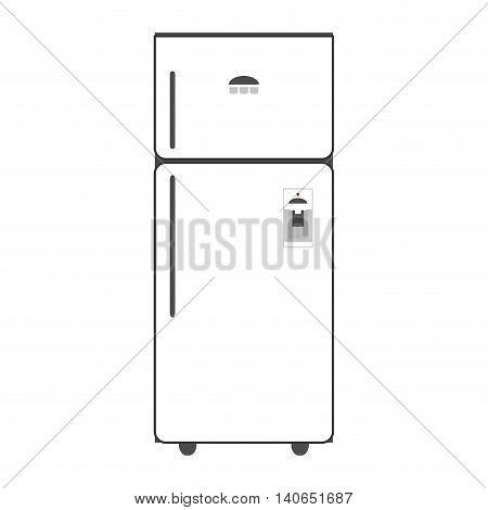 flat design single fridge icon vector illustration