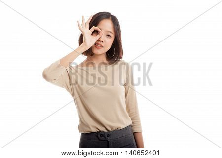 Beautiful Young Asian Woman Show Ok Sign Over Her Eye