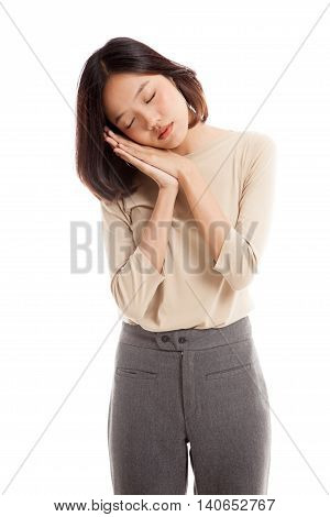 Beautiful Young Asian Woman With Sleeping Gesture