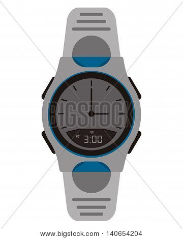 flat design analog watch icon vector illustration