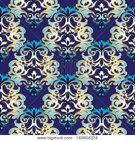 Baroque vector seamless pattern with gold and dark blue volumetric 3d  ornament. Vintage element for design in Victorian style. Ornate luxury floral decor for textile.Endless stylish texture