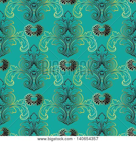 Baroque vector seamless pattern with gold and green volumetric 3d  ornament. Vintage element for design in Victorian style. Ornate emerald  floral decor for textile. Endless stylish texture