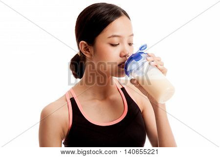 Beautiful Asian Healthy Girl Drinking Whey Protein