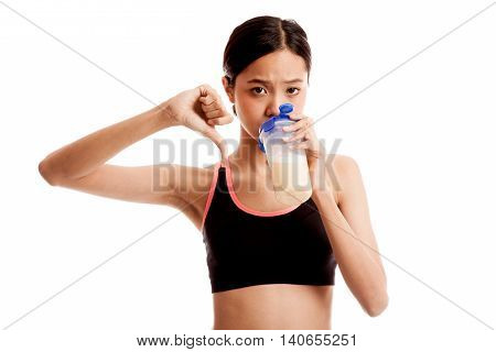 Beautiful Asian Healthy Girl Thumbs Down Hate Whey Protein