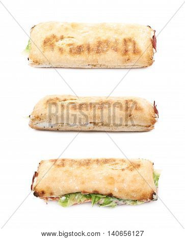 Sub sandwich isolated over the white background, set of three different foreshortenings