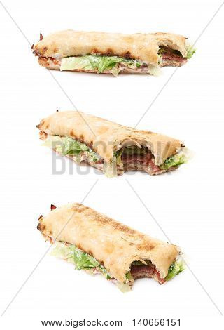 Sub sandwich with a single bite taken of isolated over the white background, set of three different foreshortenings