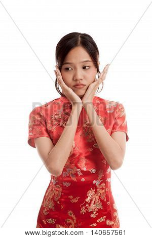 Sad Asian Girl In Chinese Cheongsam Dress