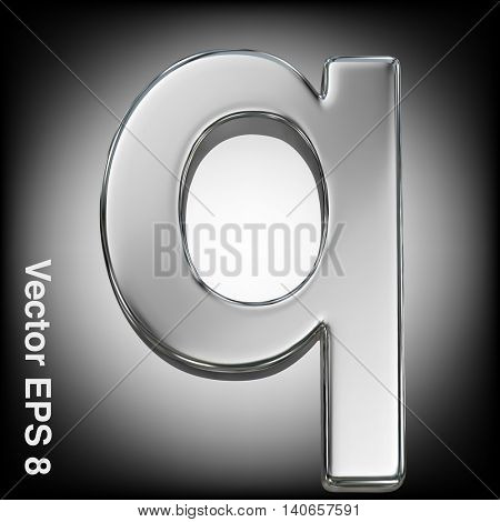 Vector letter q from metal alphabet. Lowercase metal font collection. EPS 8