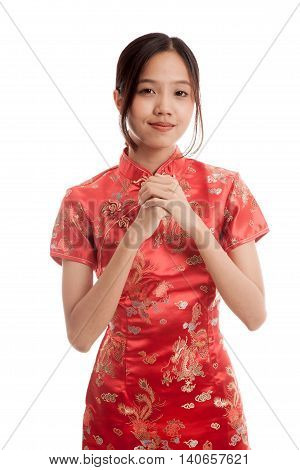 Asian Girl In Chinese Cheongsam Dress With Gesture Of Congratulation