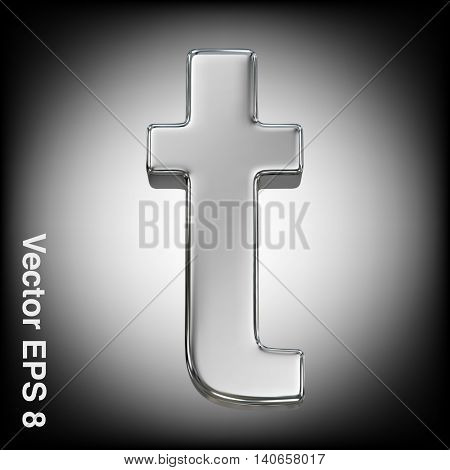 Vector letter t from metal alphabet. Lowercase metal font collection. EPS 8