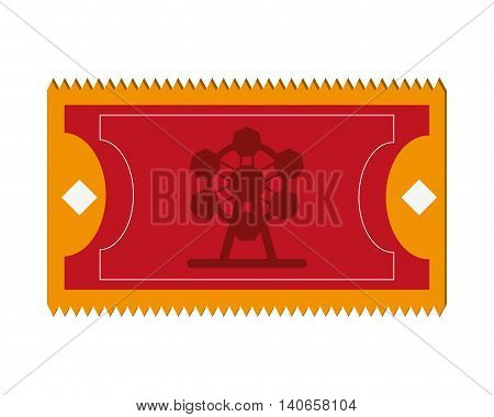 flat design amusement park ticket icon vector illustration