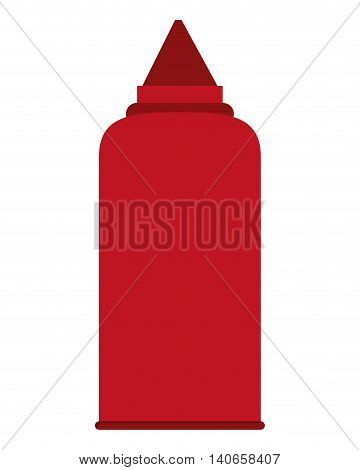 flat design ketchup bottle icon vector illustration