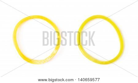 Single rubber loom band isolated over the white background, set of two different foreshortenings