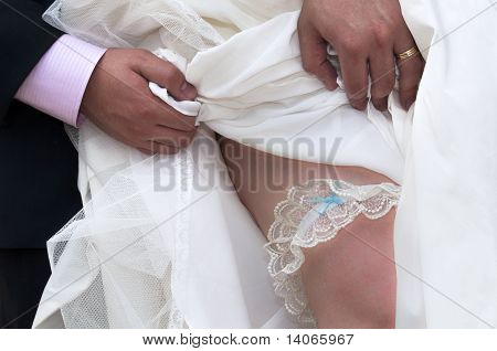 Traditional Garter On A Brides Leg
