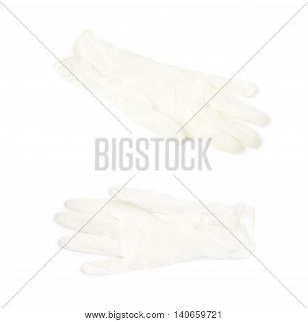 Medical white rubber glove isolated over the white background, set of two different foreshortenings