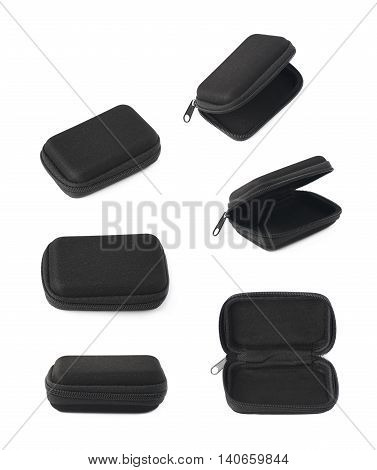Black small rectangular protection case shell with a zipper, isolated over the white background, set of six different foreshortenings