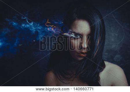 beautiful anger, concept image with a beautiful girl