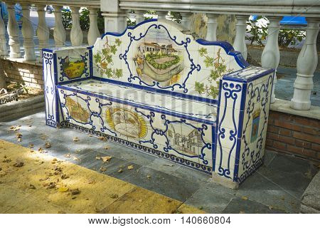 travel, bank beautiful painted tile pieces in Marbella, Andalucia Spain