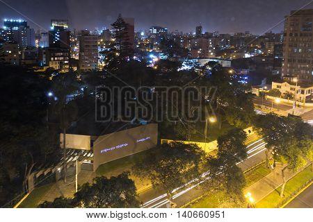 Miraflores Lima At Night