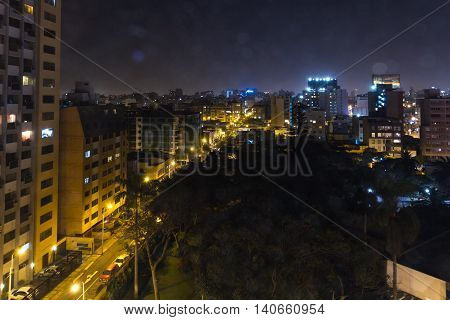Miraflores Lima At Night