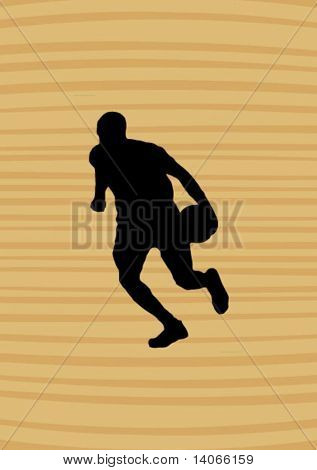 basketball player on the wooden background