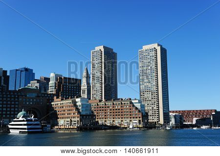 the Boston harbor skyline in sunny day