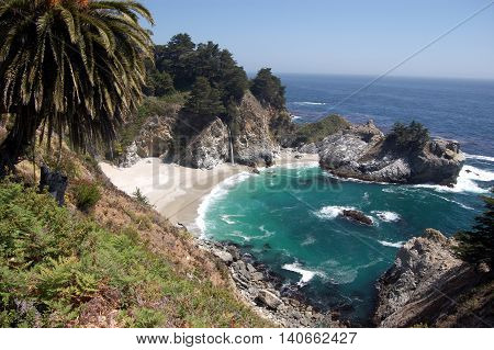 panoramic view of McWay Fall beach, Big Sur, California