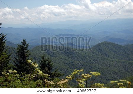 vista of Smoky Mountains straddles, in Great Smoky Mountains National Park, Tennessee