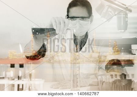 (SCIENCE) Scientist is certain activities on experimental science like mixing chemicals microscope entry data to develop science medicine or food for everyone on the world Film effect.