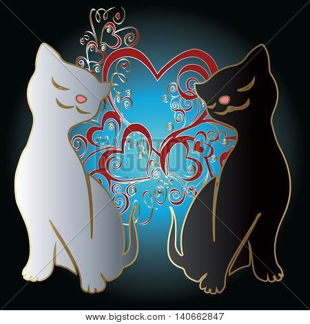 Love couple cats, Two lovely cats and love hearts. Smiling white and black cat. Vector illustration.
