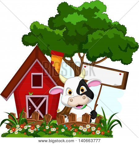 cute baby cow cartoon holding blank sign with farm background