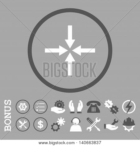 Impact Arrows vector bicolor icon. Image style is a flat pictogram symbol inside a circle, dark gray and white colors, silver background. Bonus images are included.